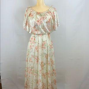 Vintage Romantic Prarie Style Long Flowered Dress